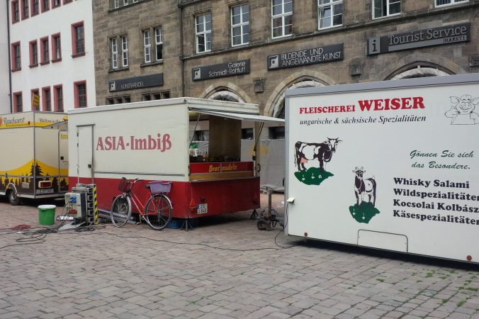 Asian, Hungarian & German food stands on the market