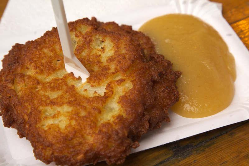 Potato pancake with apple sauce