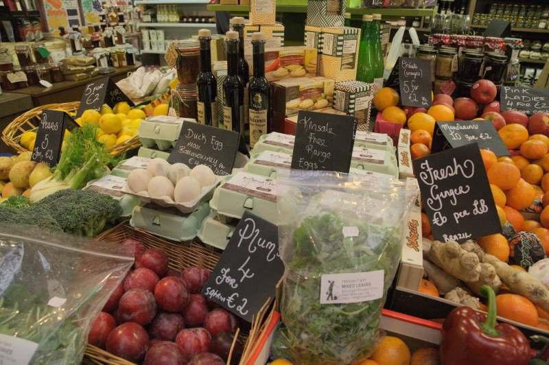 Duck eggs amongst fruit & vegetables - English market